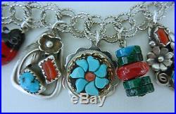 Vintage Sterling Charm Bracelet Southwest Turquoise Coral Zuni Navajo 19 Charms