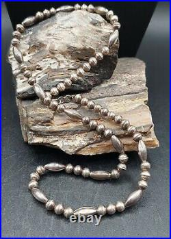 Vintage Sterling Silver Bench Bead Necklace Native Navajo Old Pawn Lot