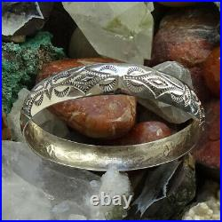 Vintage Sterling Silver Native American Navajo Bangle Bracelet Signed WT Stamped