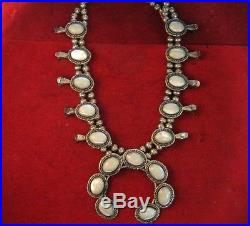 Vintage Sterling Silver Navajo Mother of Pearl Squash Blossom Necklace