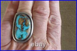 Vintage Sterling Silver Navajo Native American Large 1 5/8 Men's Ring Sz 9.75