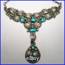 Vintage Sterling Silver Navajo Turquoise Old Pawn Necklace L452