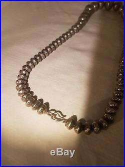 Vintage Sterling silver handmade Helen Chee 24' Navajo Bead 145gram Necklace