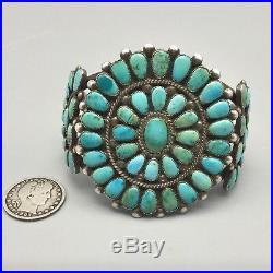 Vintage Turquoise & Sterling Cluster Bracelet Old School Cluster Bracelet