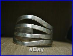 Vintage Wide Heavy Native American Navajo Stamped Sterling Cuff Bracelet