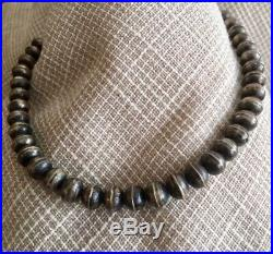 Vintage sterling silver Navajo pearls necklace with rich warm patina