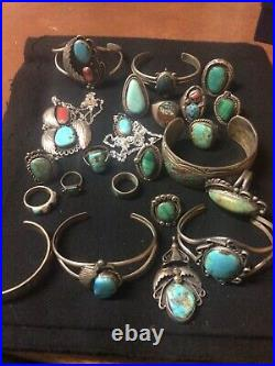 Vintagenative Americannavajosterling Silverturquoise Lot