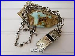 Vtg 40s Stamped NAVAJO POLICE WHISTLE Hand Wrought Sterling Silver Link Necklace