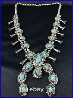 Vtg Huge 248g Navajo Squash Blossom Turquoise Sterling Silver Necklace