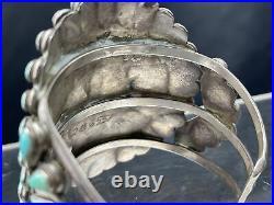 Vtg Huge 91g Old Pawn Navajo Cluster Turquoise Sterling Silver Cuff Bracelet