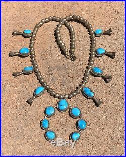Vtg NAVAJO Sterling Silver Blue Gem Turquoise Mountain Squash Blossom Necklace