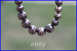 Vtg Native Navajo Graduated Sterling Silver Bench Bead Necklace pearls signed