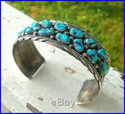 Vtg Navajo James Shay Sterling Kingman Turquoise Mens Cuff Bracelet 7