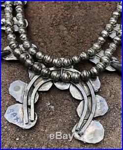 Vtg Navajo Red Mediterranean Coral Sterling Silver Squash Blossom Necklace 24.5