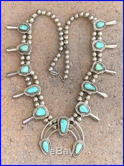 Vtg Pawn Navajo Sterling Silver Carico Lake Turquoise Squash Blossom Necklace