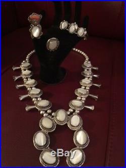 Vtg SS Navajo Mother of Pearl Squash Blossom Necklace + 2 Rings+Bracelet +++++