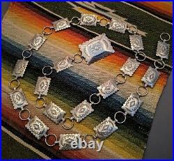 Vtg. Solid Sterling Silver Native American Navajo Stamped Concho Belt Necklace