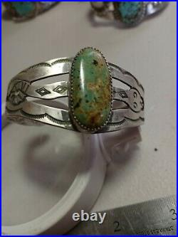 WOW Pawn RARE ZUNI STERLING TURQUOISE WITH Open Work CUFF HAND MADE SNAKES