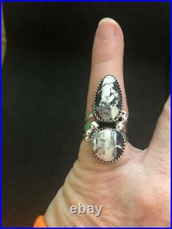 White Buffalo Turquoise stone Sterling sz 7.5 Navajo Avin Joe 232