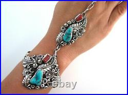 XL Navajo HB Yazzie Sterling Silver Turquoise Coral Slave Bracelet Ring Size 7